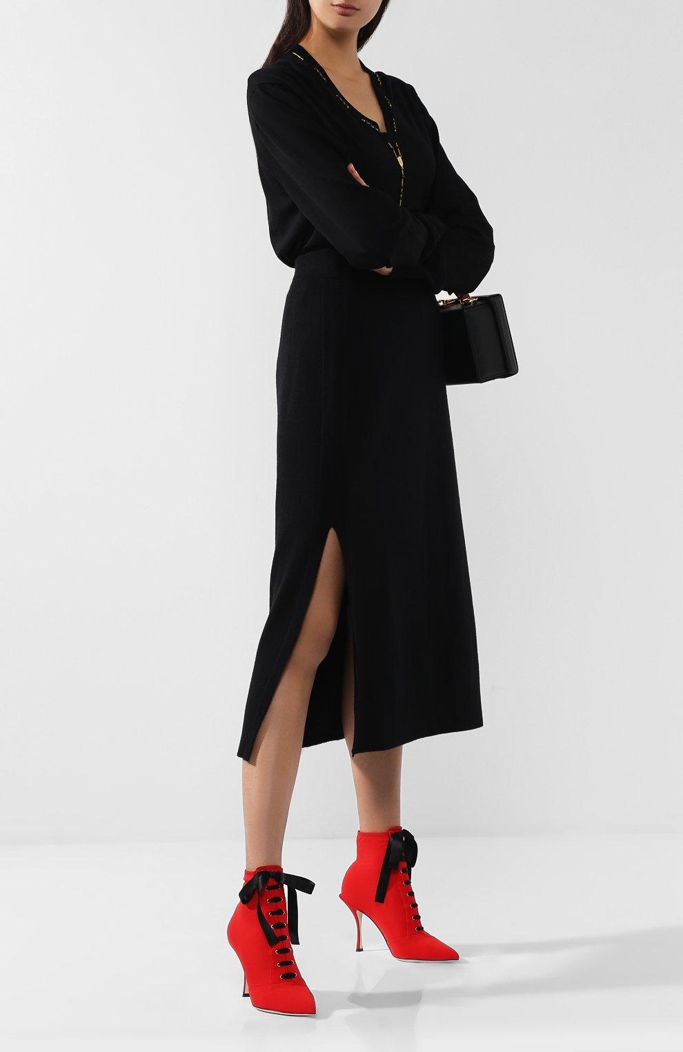 Текстильные ботильоны Lori на шпильке Dolce & Gabbana красные   Фото №2