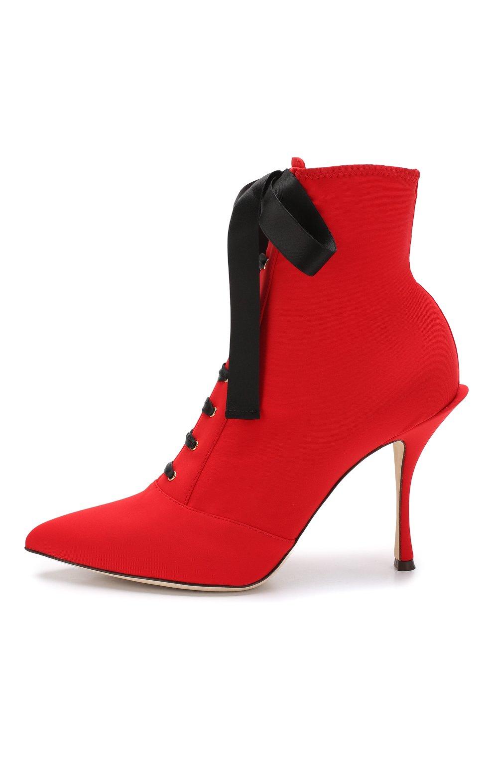 Текстильные ботильоны Lori на шпильке Dolce & Gabbana красные   Фото №3