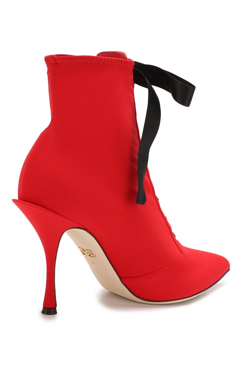 Текстильные ботильоны Lori на шпильке Dolce & Gabbana красные   Фото №4