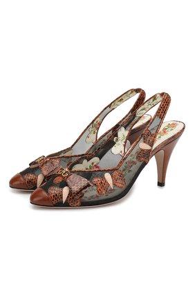 Полупрозрачные туфли с отделкой из кожи варана | Фото №1