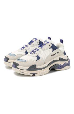 Комбинированные кроссовки Triple S на шнуровке | Фото №1