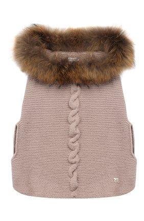Шерстяное пончо с меховой отделкой на капюшоне | Фото №1