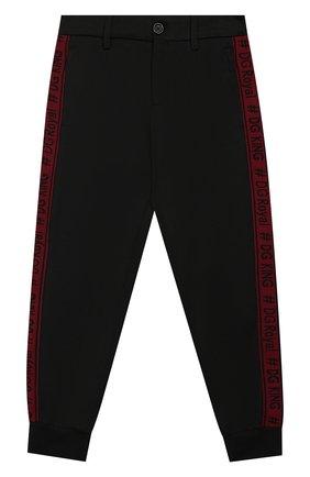 Хлопковые брюки с эластичными манжетами и лампасами | Фото №1