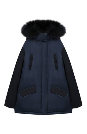 Шерстяная куртка с меховой отделкой на капюшоне | Фото №1
