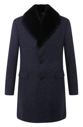 Кашемировое пальто с меховой отделкой воротника   Фото №1