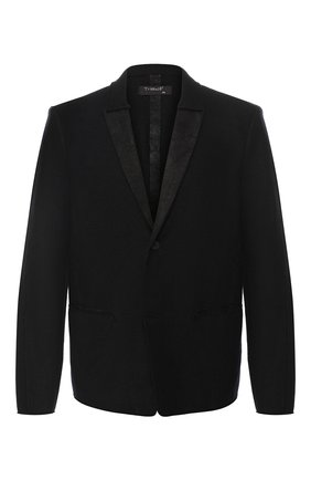 Шерстяной однобортный пиджак с отделкой из кожи   Фото №1