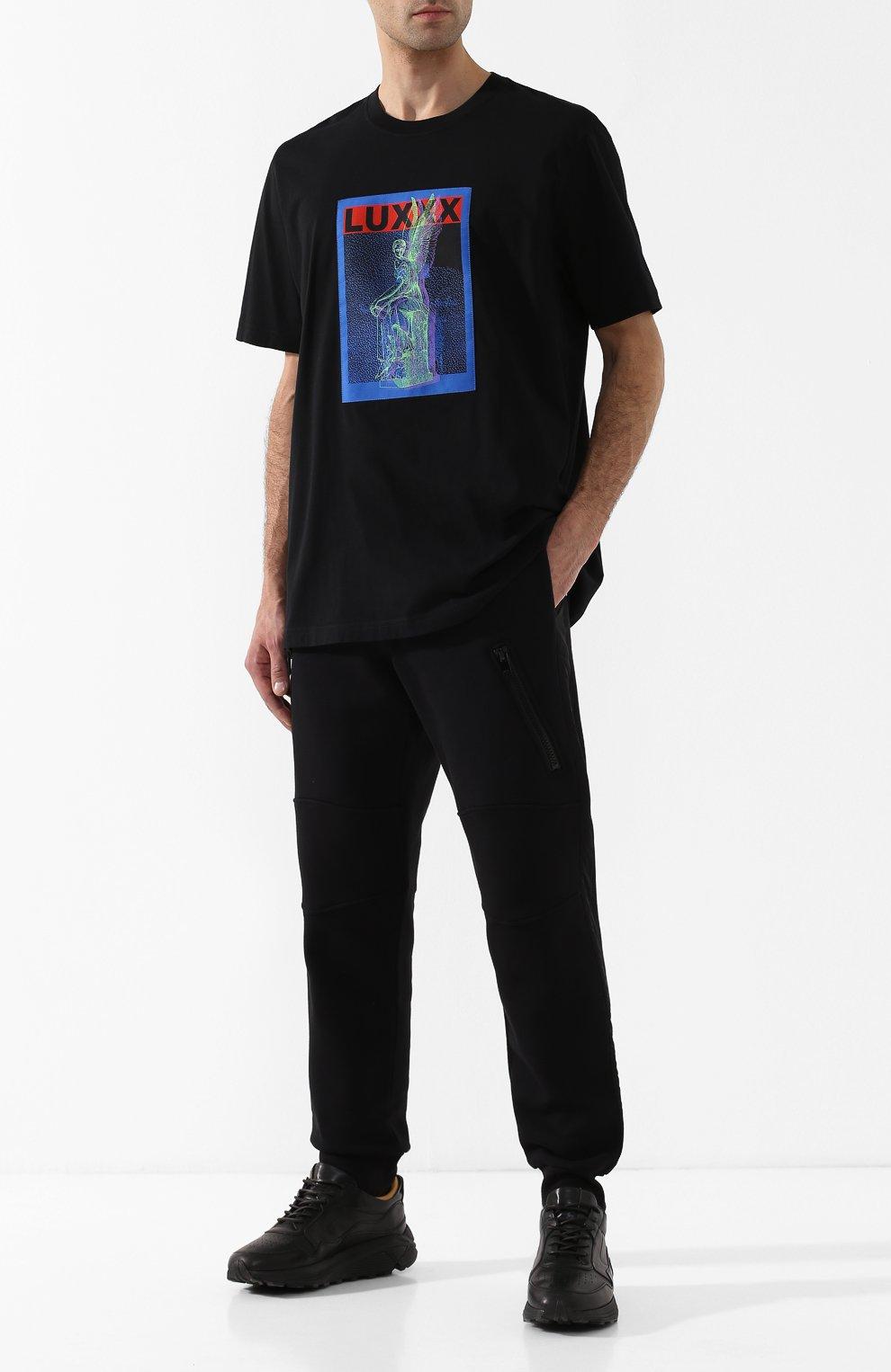 Хлопковая футболка с принтом Diesel черная   Фото №2