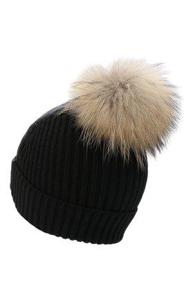 Утепленная шапка с меховым помпоном | Фото №2