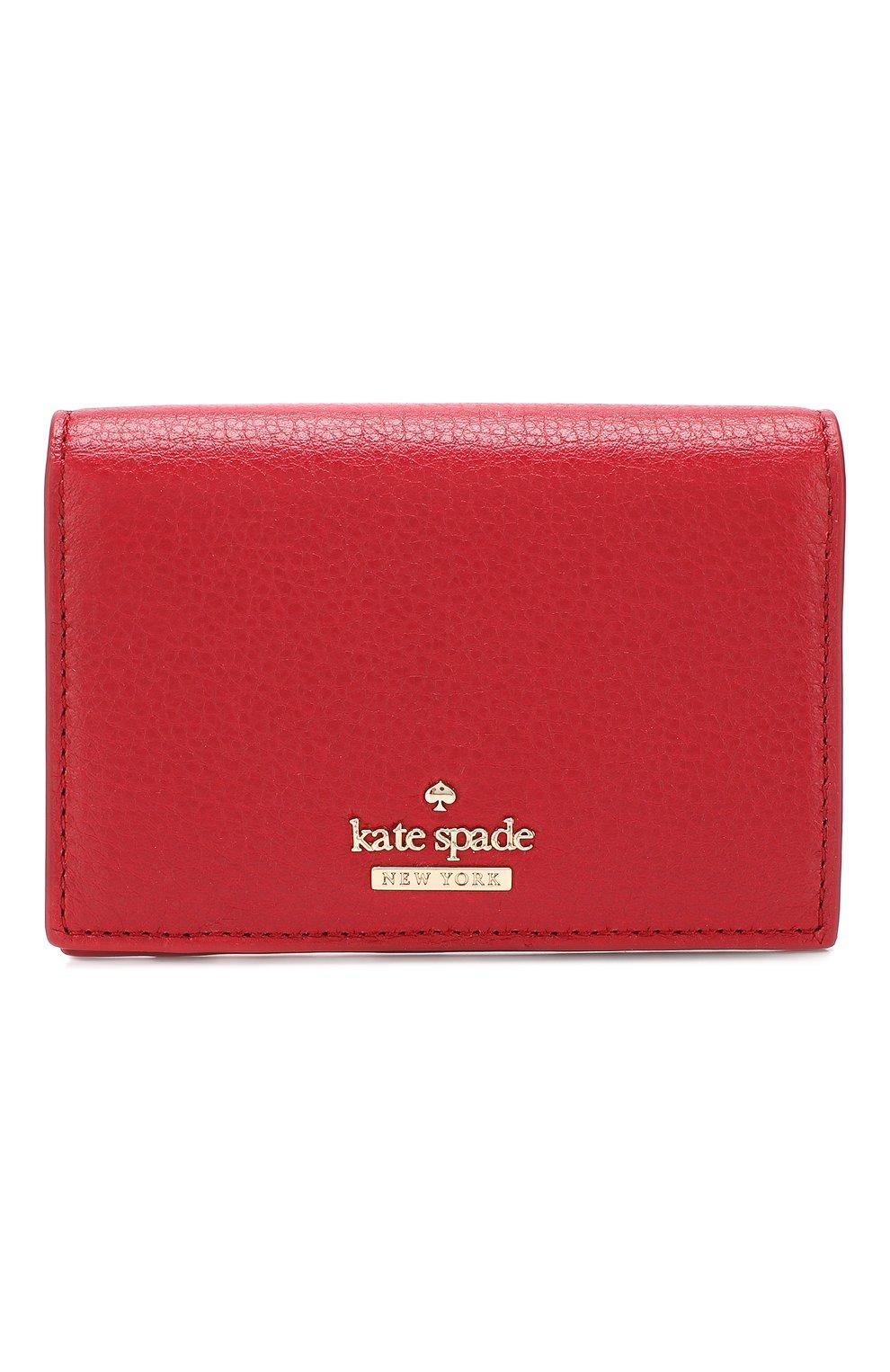 Кожаный кошелек на кнопке Kate Spade New York красного цвета   Фото №1