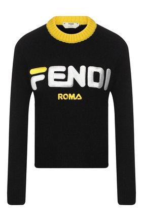 Пуловер из смеси шерсти и кашемира с логотипом бренда | Фото №1