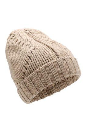 Мужская кашемировая шапка фактурной вязки LORO PIANA бежевого цвета, арт. FAG4443 | Фото 1