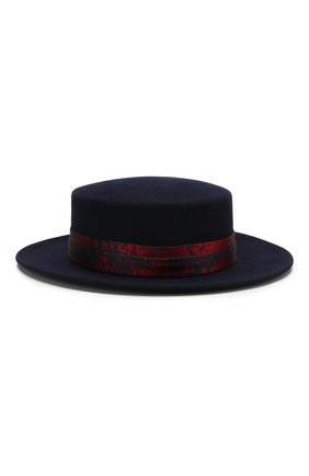 Фетровая шляпа Kiki Maison Michel темно-синего цвета | Фото №2