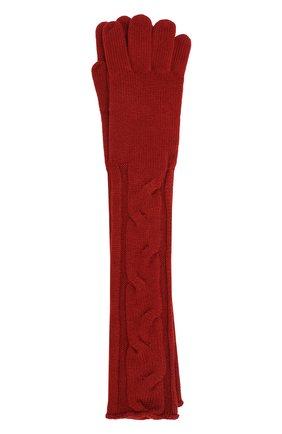 Удлиненные кашемировые перчатки фактурной вязки | Фото №1