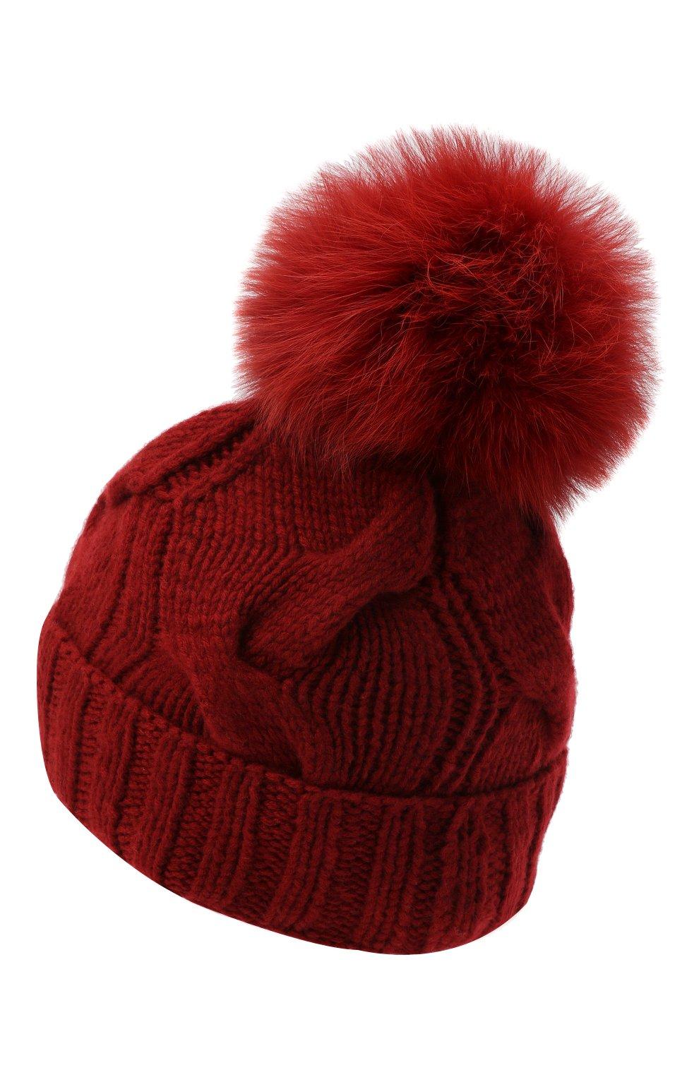 Кашемировая шапка с меховым помпоном Loro Piana красного цвета | Фото №2
