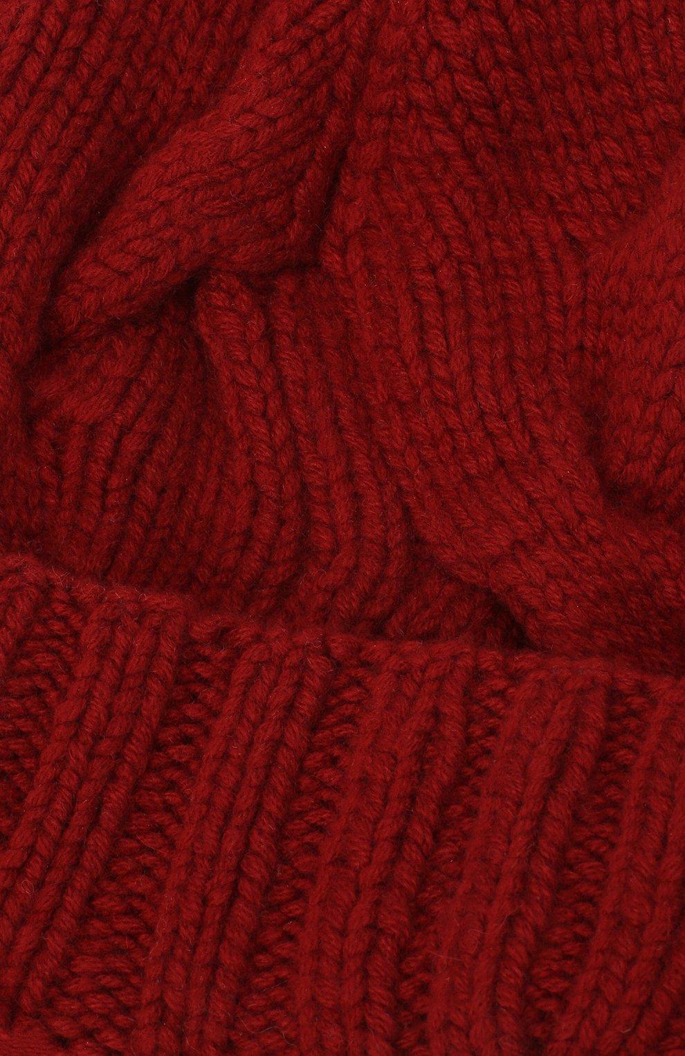 Кашемировая шапка с меховым помпоном Loro Piana красного цвета | Фото №3