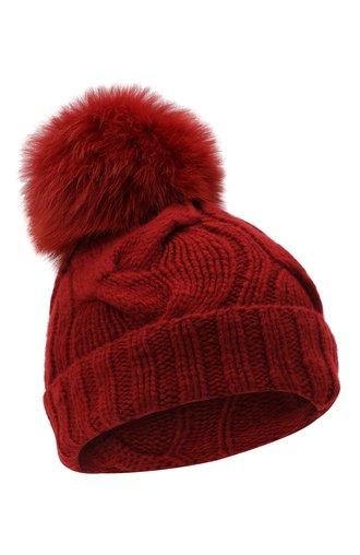 Кашемировая шапка с меховым помпоном