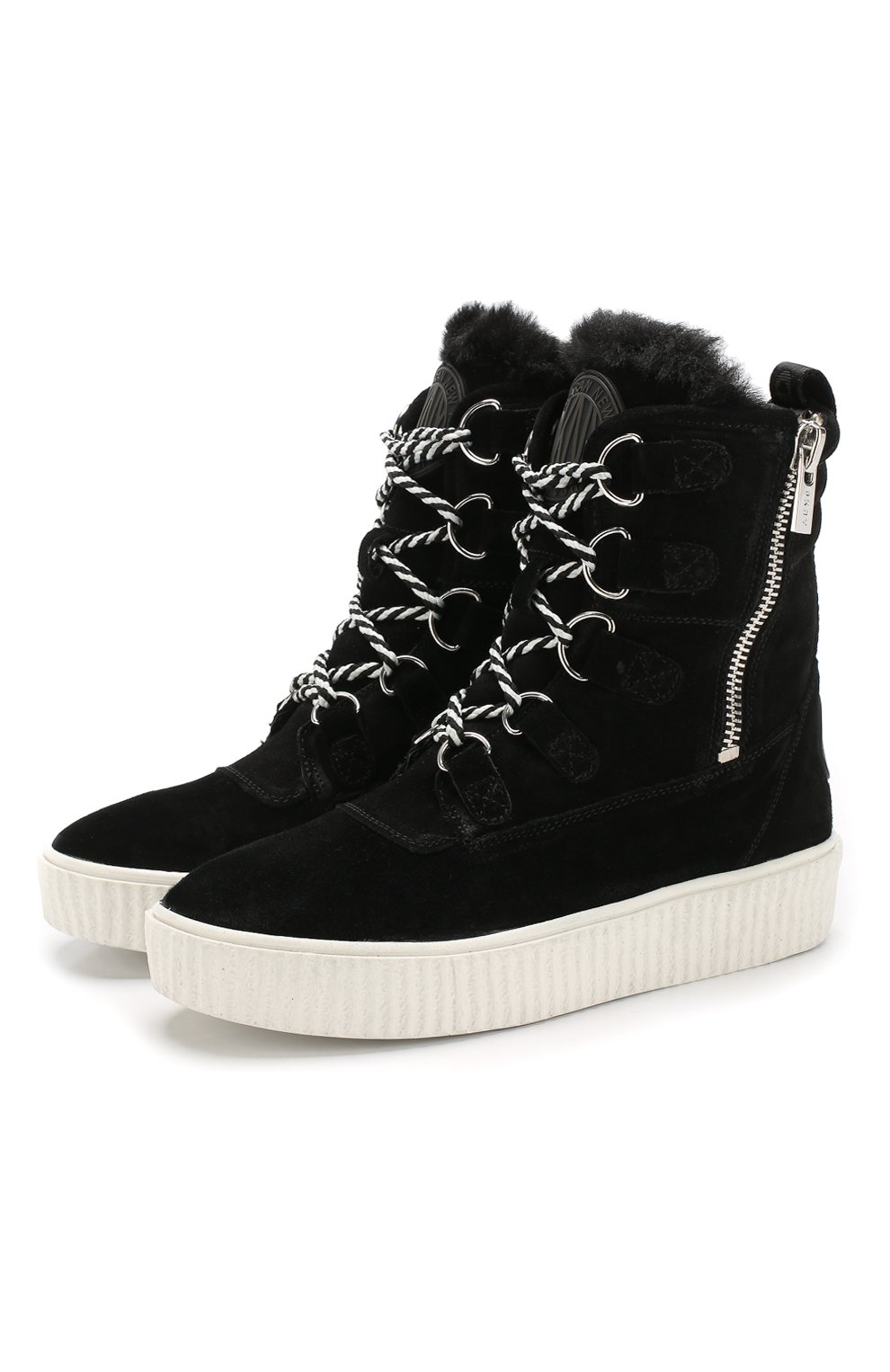 Высокие замшевые ботинки на шнуровке | Фото №1