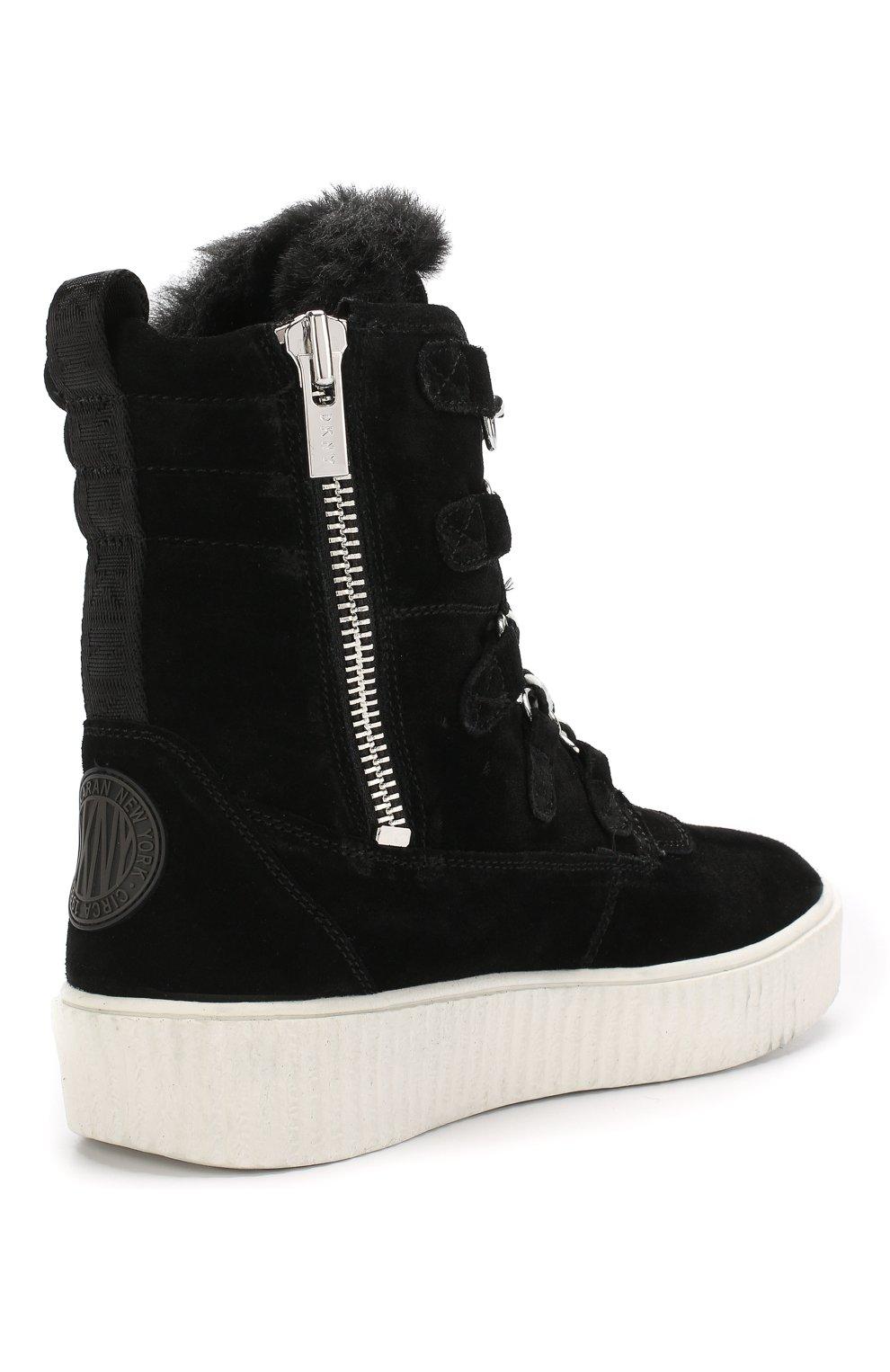 Высокие замшевые ботинки на шнуровке | Фото №4