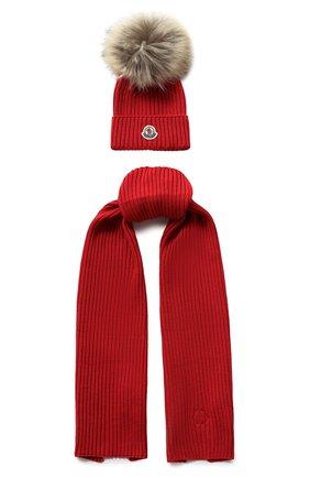Комплект из шарфа и шапки с меховым помпоном | Фото №1