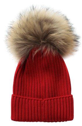 Комплект из шарфа и шапки с меховым помпоном   Фото №3