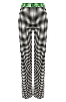 Женские брюки прямого кроя с узором SUBTERRANEI черно-белого цвета, арт. I8SUBFW18-005   Фото 1