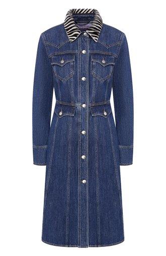Джинсовое платье с контрастным воротником