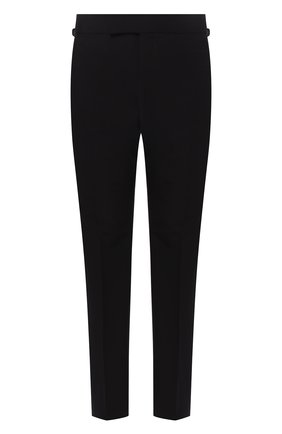 Мужской брюки из смеси шерсти и шелка прямого кроя TOM FORD черного цвета, арт. 444R51/61004B | Фото 1