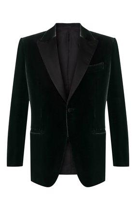 Мужской однобортный пиджак из смеси хлопка и шелка BRIONI зеленого цвета, арт. RE4X0M/0705S | Фото 1