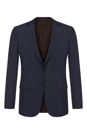 Мужской однобортный пиджак из смеси кашемира и шелка ZEGNA COUTURE синего цвета, арт. 459N17/12C2N0 | Фото 1