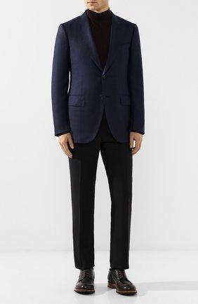 Мужской однобортный пиджак из смеси кашемира и шелка ZEGNA COUTURE синего цвета, арт. 459N17/12C2N0 | Фото 2