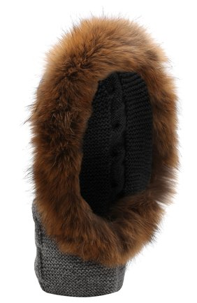 Шерстяная шапка-балаклава с меховой отделкой | Фото №1
