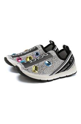 Детские текстильные кроссовки со стразами без шнуровки DOLCE & GABBANA разноцветного цвета, арт. D10723/AZ170/29-36 | Фото 1