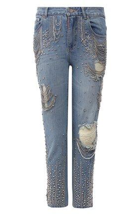 Укороченные джинсы с декоративной отделкой | Фото №1