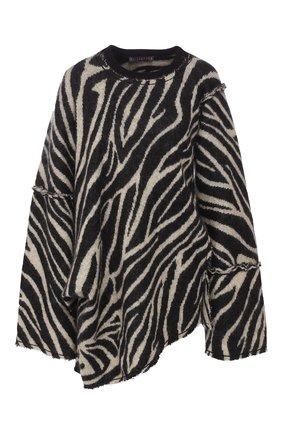 Пуловер свободного кроя с принтом | Фото №1