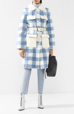 Женская меховое пальто с поясом SAKS POTTS белого цвета, арт. 17815 TSUM EXCLUSIVE LUNIS WHITE/BLUE C0AT   Фото 2