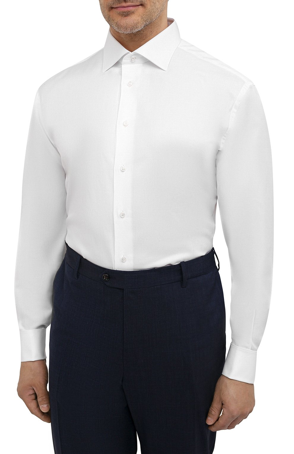Мужская хлопковая сорочка с воротником кент BRIONI белого цвета, арт. RCL421/PZ023   Фото 3