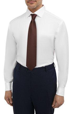 Мужская хлопковая сорочка с воротником кент BRIONI белого цвета, арт. RCL421/PZ023   Фото 4