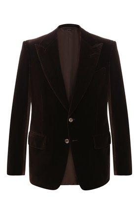Мужской однобортный пиджак из хлопка TOM FORD коричневого цвета, арт. 471R16/11SG40 | Фото 1