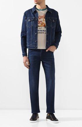 Мужские джинсы прямого кроя 7 FOR ALL MANKIND синего цвета, арт. JSMNR750PC | Фото 2