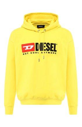 Хлопковое худи с логотипом бренда Diesel желтый | Фото №1