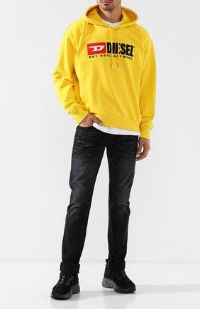 Хлопковое худи с логотипом бренда Diesel желтый | Фото №2