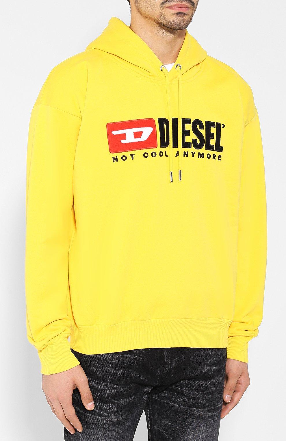 Хлопковое худи с логотипом бренда Diesel желтый | Фото №3