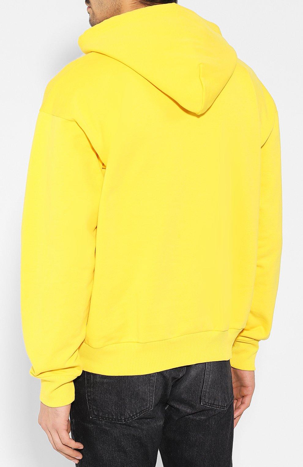 Хлопковое худи с логотипом бренда Diesel желтый | Фото №4