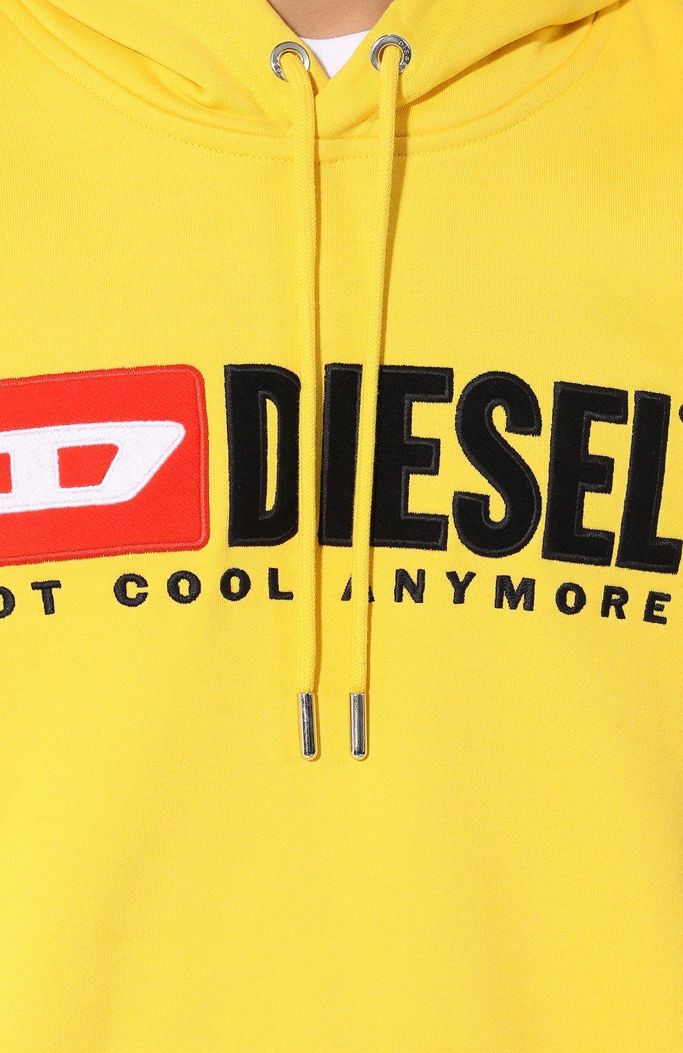 Хлопковое худи с логотипом бренда Diesel желтый | Фото №5