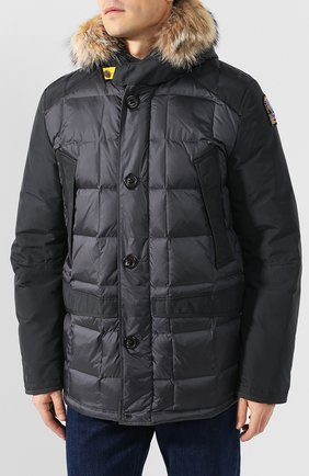 Пуховая куртка на молнии с капюшоном   Фото №3