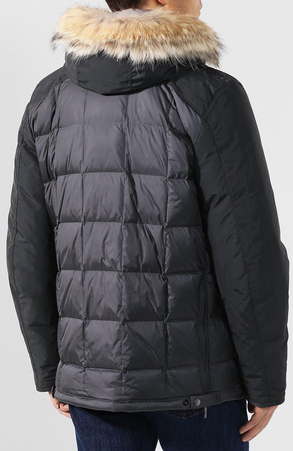 Пуховая куртка на молнии с капюшоном   Фото №4
