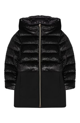 Пуховое пальто на молнии с капюшоном  | Фото №1