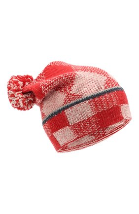 Детского кашемировая шапка с помпонами LORO PIANA бордового цвета, арт. FAI3322 | Фото 1
