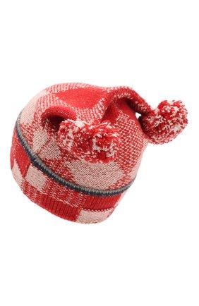 Детского кашемировая шапка с помпонами LORO PIANA бордового цвета, арт. FAI3322 | Фото 2