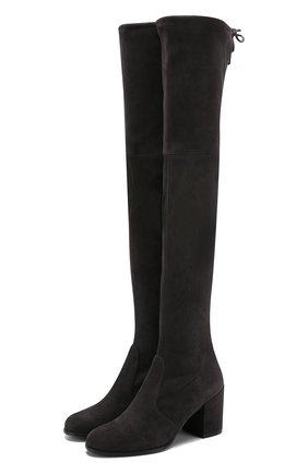 Замшевые ботфорты Tieland на устойчивом каблуке | Фото №1